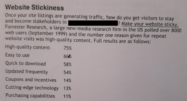 section of website findability report from 2000 on website stickiness