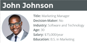 Example of a persona with demographic details