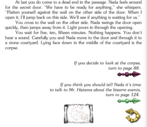 Choose Your Own Adventure novel next page options