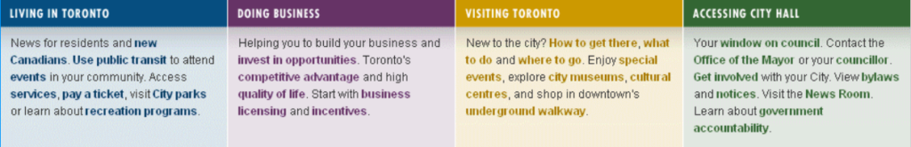 City of Toronto website showing too many links in many colours