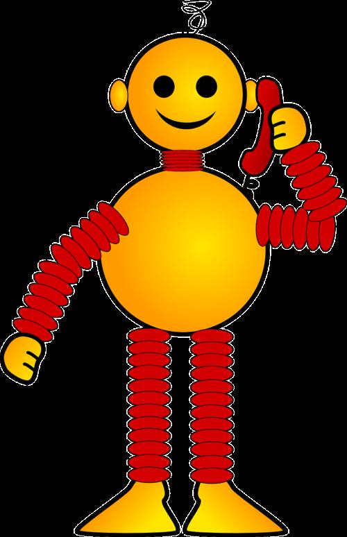Cartoon robot on the telephone, representing Google Duplex
