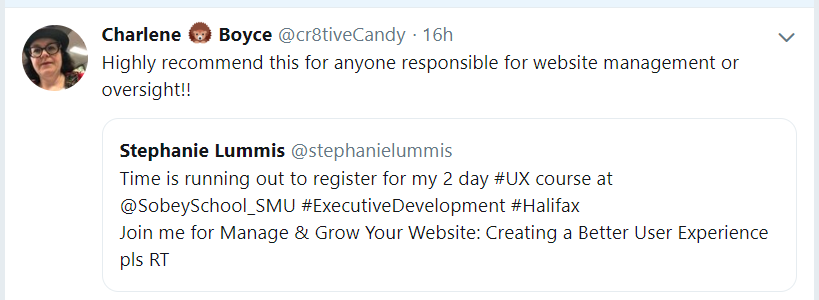 Tweet from @cr8tiveCandy: Highly recommend this for anyone responsible for website management or oversight!!